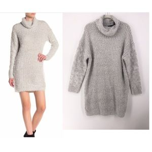 Solutions Taupe Heather Cowl Neck Sweater Dress